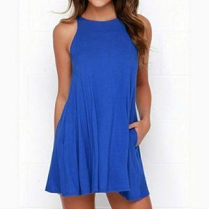 Lulu's Royal Blue Sleeveless Swing Dress XS